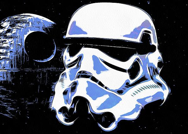 Stormtrooper helmet and death star print by dan sproul