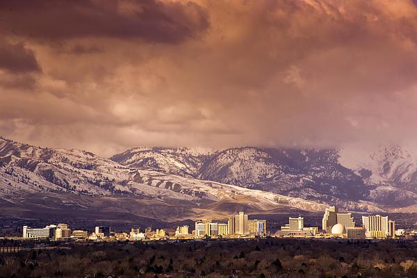 Stormy Reno Sunrise Print by Janis Knight