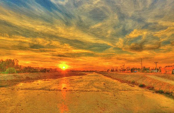 Angela A Stanton - Stormy Sunset over Santa Ana River