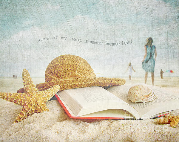 Straw Hat And Book In The Sand Print by Sandra Cunningham