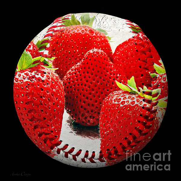 Strawberries Baseball Square Print by Andee Design