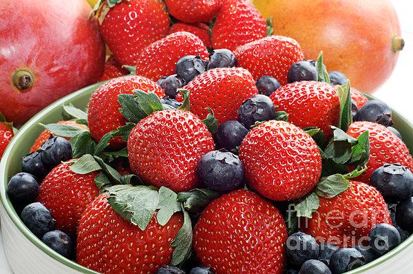 Strawberries Blueberries Mangoes - Fruit - Heart Health Print by Andee Design