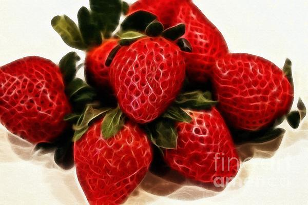 Strawberries Expressive Brushstrokes Print by Barbara Griffin