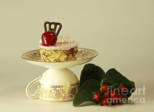 Strawberry Mousse Dessert For One Print by Inspired Nature Photography By Shelley Myke