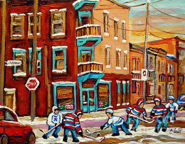 Street Hockey Practice Wilensky's Diner Montreal Winter Street Scenes Paintings Carole Spandau Print by Carole Spandau