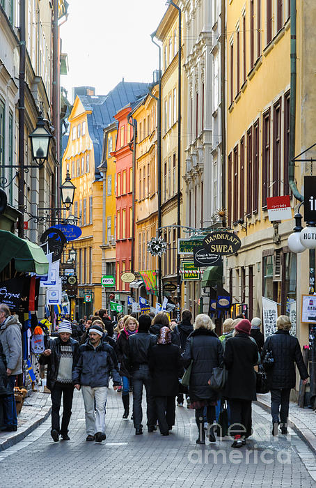 Street In Gamla Stan - The Old Part Of Stockholm - Sweden Print by David Hill