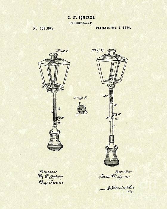 Street Lamp 1876 Patent Art Print by Prior Art Design