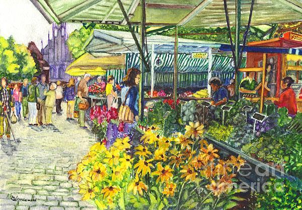 Munster Germany Street Market  Print by Carol Wisniewski