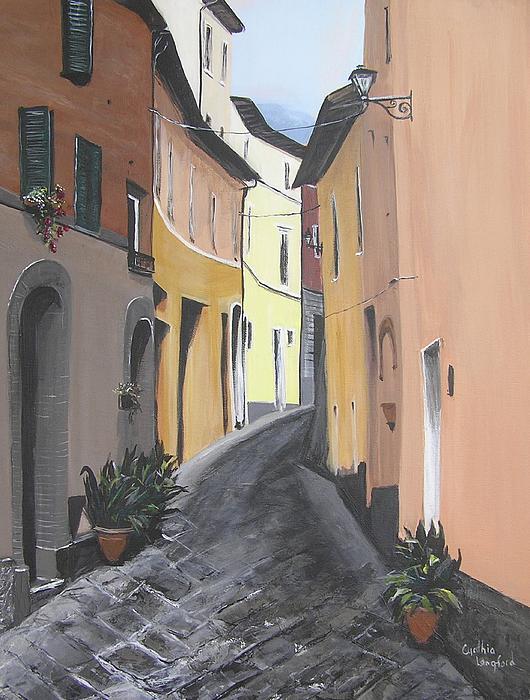 Streets Of Chiusi Print by Cynthia Langford