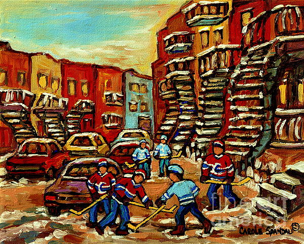 Streets Of Verdun Paintings He Shoots He Scores Our Hockey Town Forever Montreal City Scenes Print by Carole Spandau