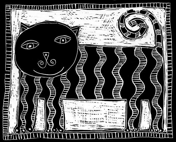 Stripey Cat Scraperboard Print by Julie Nicholls