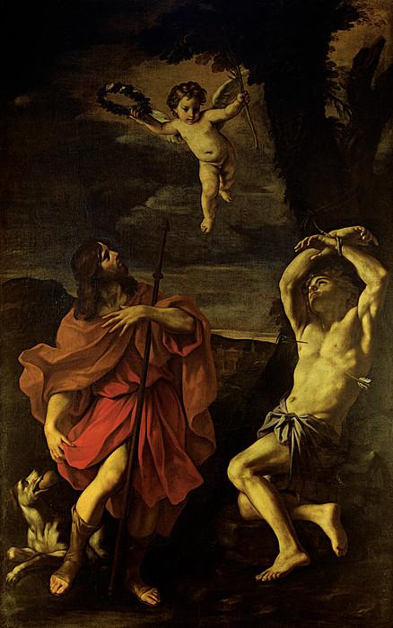 Sts Sebastian And Roch Print by Carlo Cignani