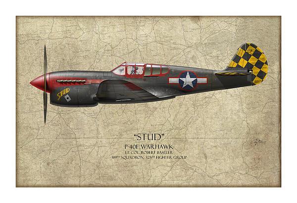 Stud P-40 Warhawk - Map Background Print by Craig Tinder