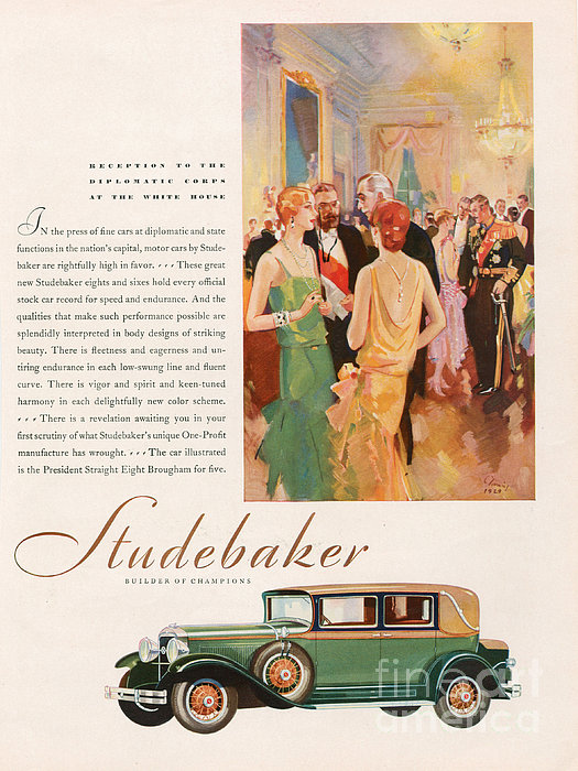 Studebaker 1929 1920s Usa Cc Cars Print by The Advertising Archives
