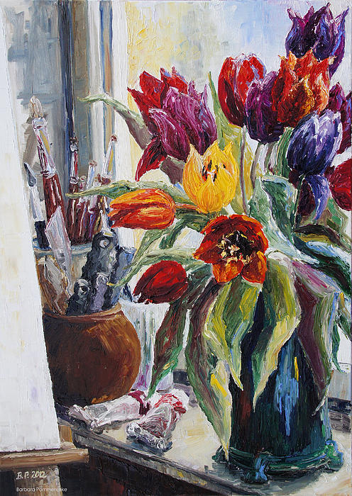 Studio Corner With Tulips Print by Barbara Pommerenke