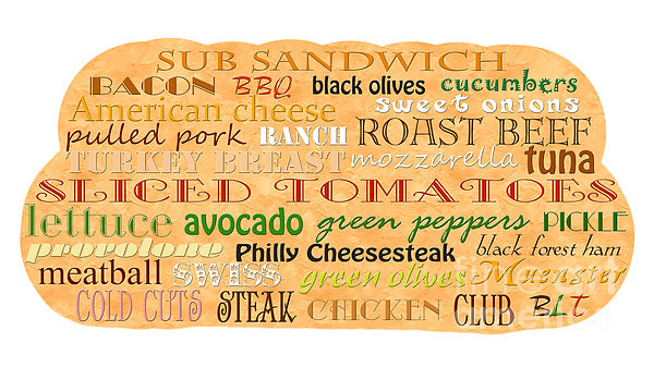 Sub Sandwich Typography Print by Andee Design