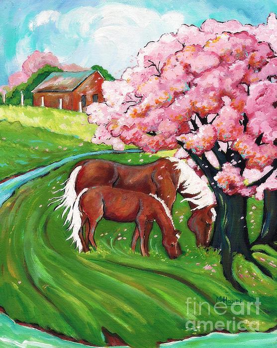 Sugar Creek Horses 2 Print by MarLa Hoover