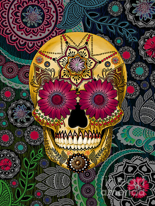 Sugar Skull Paisley Garden - Copyrighted Print by Christopher Beikmann