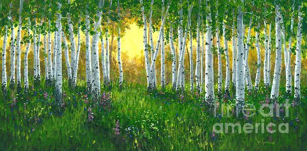 Summer Birch 24 X 48 Print by Michael Swanson