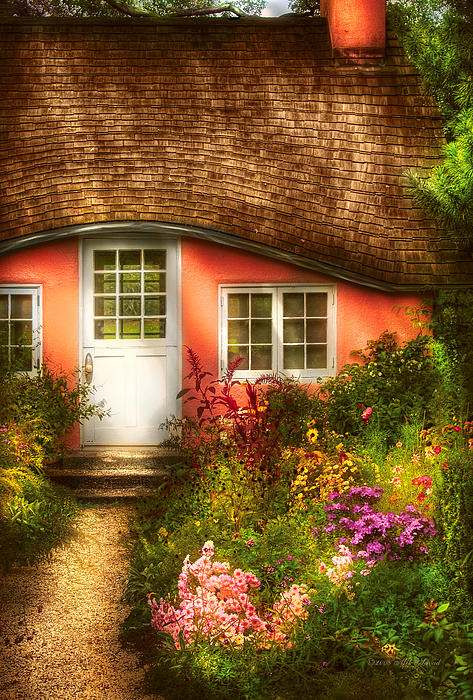 Summer - Cottage - Little Pink Play House Print by Mike Savad