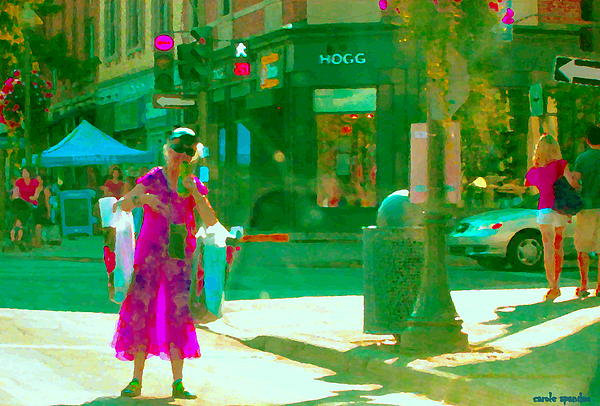 Summer Heatwave Too Hot To Walk Lady Hailing Taxi Cab At Hogg Hardware Rue Sherbrooke Carole Spandau Print by Carole Spandau