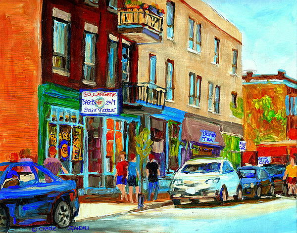 Summer On Saint Viateur Street Strolling By The Bagel Shop And David's Tea Room  Montreal City Scene Print by Carole Spandau