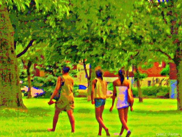 Summertime Walk Through The Beautiful Tree Lined Park Montreal Street Scene Art By Carole Spandau Print by Carole Spandau