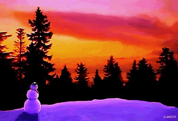 Sun Setting On Snow Print by SophiaArt Gallery