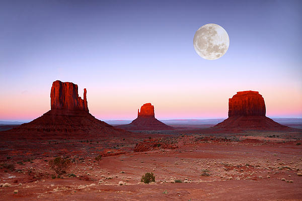 Sundown On The Buttes In Monument Valley Arizona Print by Katrina Brown