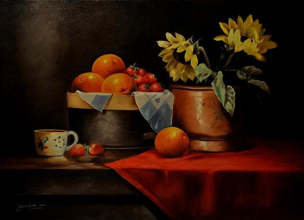Epifanio jr Mendoza - Sunflower and Fruits