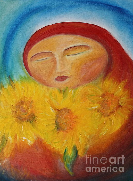 Sunflower Madonna Print by Teresa Hutto
