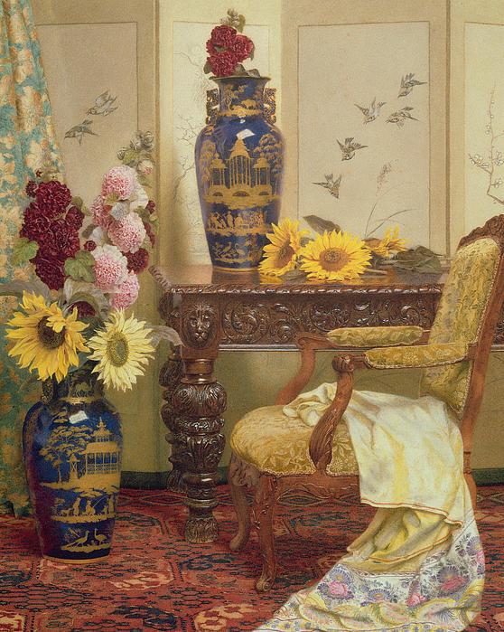 Sunflowers And Hollyhocks Print by Kate Hayllar