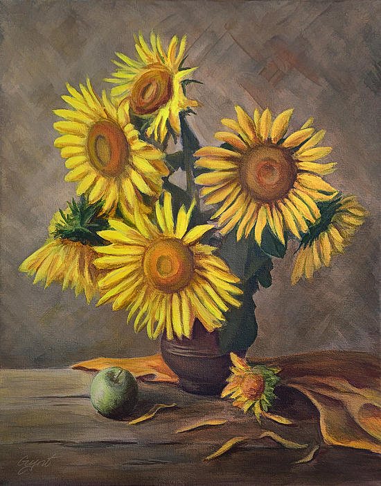 Sunflowers In Vase Print by Gynt Art