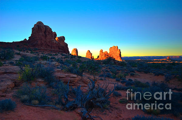 Sunrise At Arches National Park Print by Tara Turner