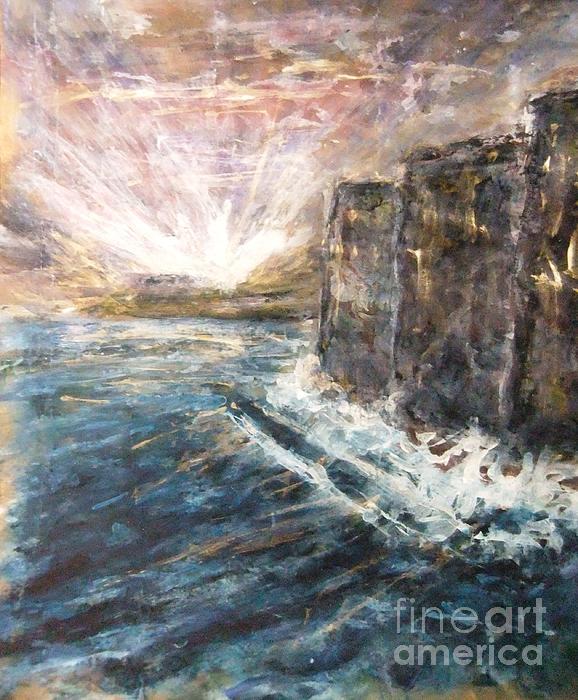 Sunrise At Tal-gurdan Cliffs Print by Marco Macelli