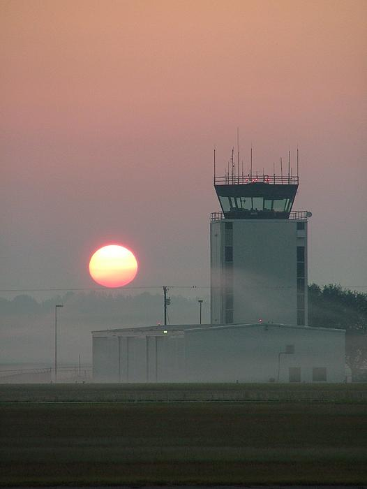 Sunrise In The Fog At East Texas Regional Airport By Phil