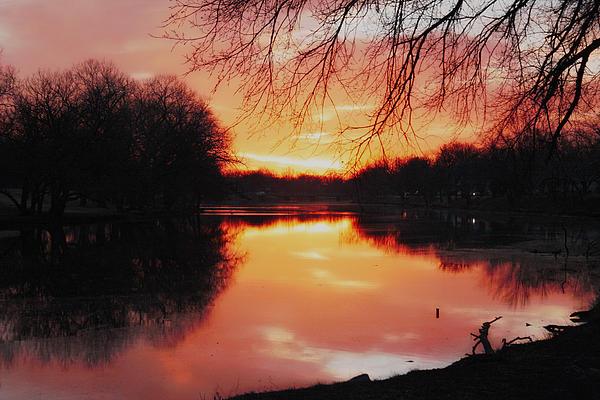 Sunrise Over The Little Arkansas River Print by David Stevenson