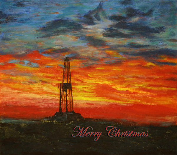 Sunrise Rig- Merry Christmas 2 Print by Karen  Peterson