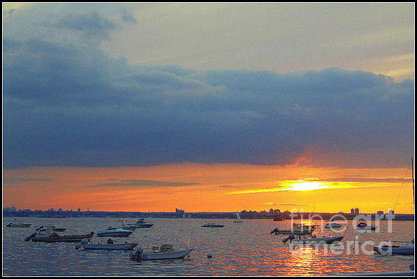 Sunset And Blue Clouds Print by  Photographic Art and Design by Dora Sofia Caputo