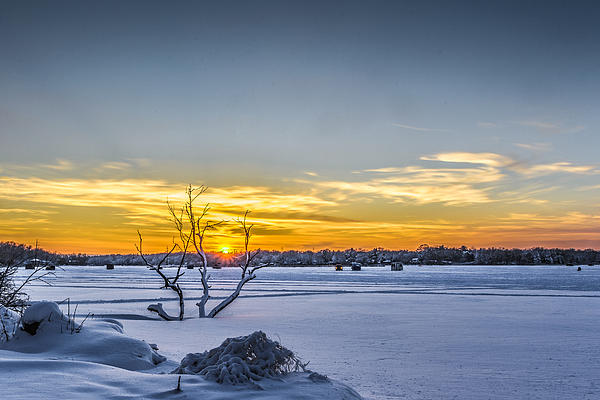 Sunset And Ice Shanties Print by Randy Scherkenbach