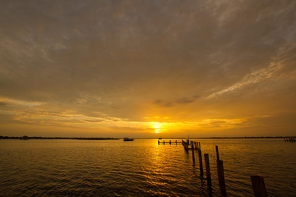 Sunset At A Weathered Pier At Port Charlotte Harbor Near Punta  Print by Fizzy Image