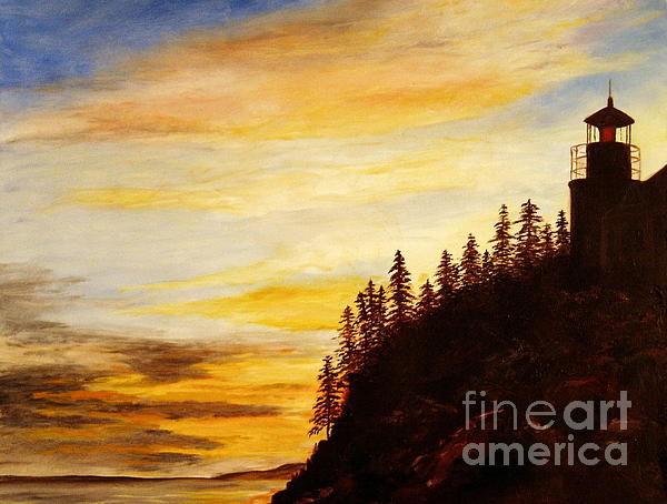 Sunset At Bass Harbor Print by Lee Piper