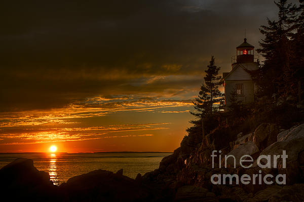 Sunset At Bass Harbor Lighthouse Print by Oscar Gutierrez