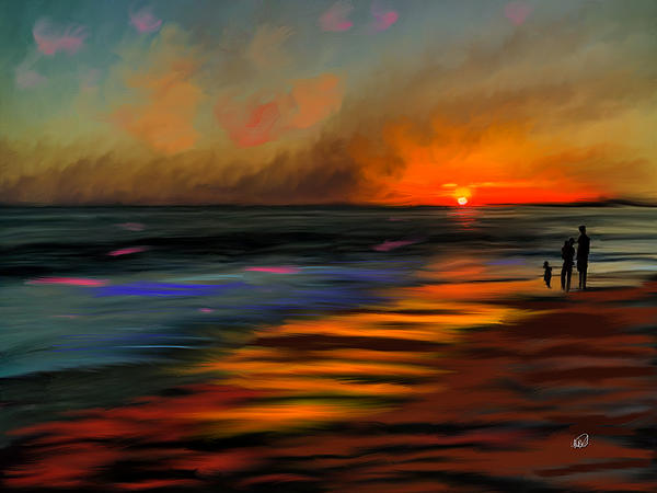 Sunset At Capo Beach In California Print by Angela A Stanton