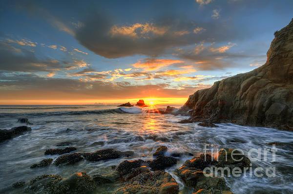 Sunset At Crescent Bay Beach Print by Eddie Yerkish