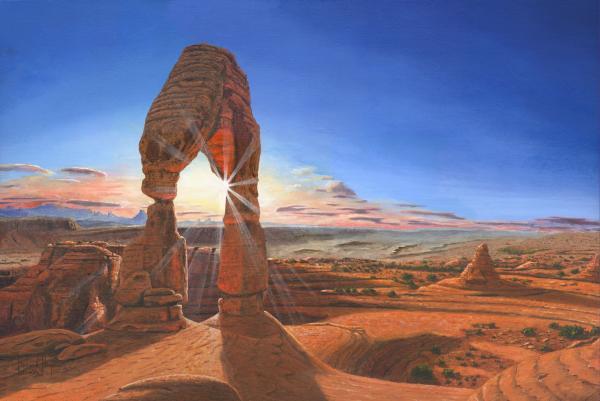 Sunset At Delicate Arch Utah Print by Richard Harpum