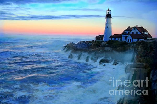 Sunset At Portland Head Lighthouse Print by Earl Jackson