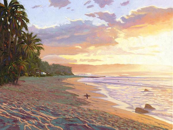 Sunset Beach - Oahu Print by Steve Simon
