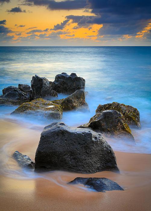 Sunset Beach Rocks Print by Inge Johnsson