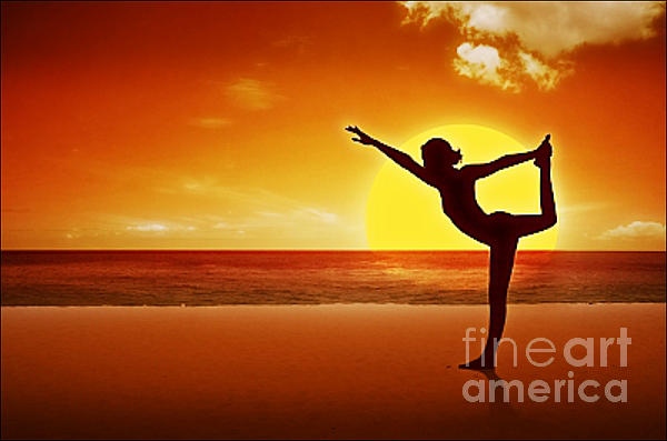 Sunset Beach Yoga Print by M and L Creations